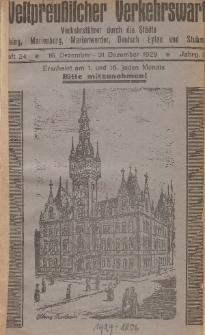 Elbinger Verkehrswart, Heft 24, 16. Dezember - 31. Dezember 1929, 3 Jahrg.