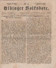 Elbinger Volksbote, Nr. 5, Freitag 21 April 1848, 1 Jahrg.