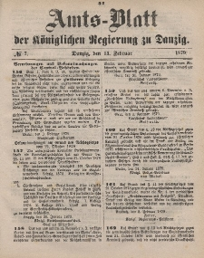 Amts-Blatt der Königlichen Regierung zu Danzig, 15. Februar 1879, Nr. 7