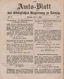 Amts-Blatt der Königlichen Regierung zu Danzig, 5. Juli 1879, Nr. 27
