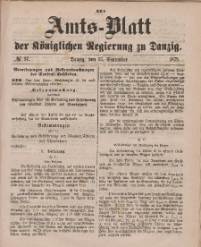 Amts-Blatt der Königlichen Regierung zu Danzig, 13. September 1879, Nr. 37