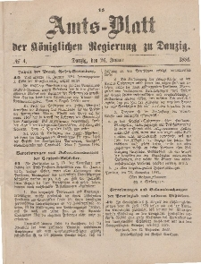 Amts-Blatt der Königlichen Regierung zu Danzig, 26. Januar 1884, Nr. 4