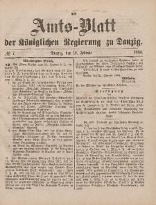 Amts-Blatt der Königlichen Regierung zu Danzig, 16. Februar 1884, Nr. 7