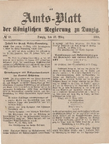 Amts-Blatt der Königlichen Regierung zu Danzig, 22. März 1884, Nr. 12