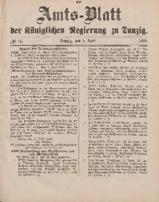 Amts-Blatt der Königlichen Regierung zu Danzig, 5. April 1884, Nr. 14