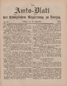 Amts-Blatt der Königlichen Regierung zu Danzig, 27. September 1884, Nr. 39