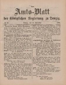 Amts-Blatt der Königlichen Regierung zu Danzig, 15. November 1884, Nr. 46