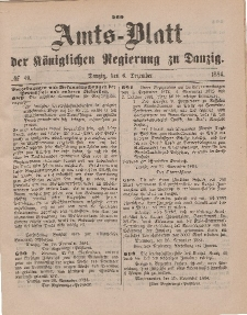 Amts-Blatt der Königlichen Regierung zu Danzig, 6. Dezember 1884, Nr. 49