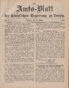 Amts-Blatt der Königlichen Regierung zu Danzig, 14. März 1885, Nr. 11