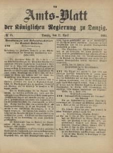 Amts-Blatt der Königlichen Regierung zu Danzig, 11. April 1885, Nr. 15