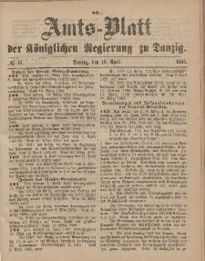 Amts-Blatt der Königlichen Regierung zu Danzig, 18. April 1885, Nr. 16