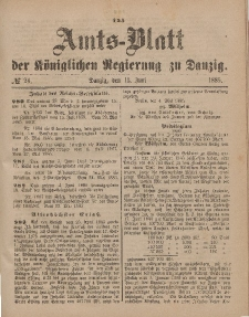 Amts-Blatt der Königlichen Regierung zu Danzig, 13. Juni 1885, Nr. 24