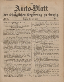 Amts-Blatt der Königlichen Regierung zu Danzig, 20. Juni 1885, Nr. 25