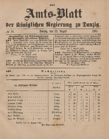 Amts-Blatt der Königlichen Regierung zu Danzig, 22. August 1885, Nr. 34