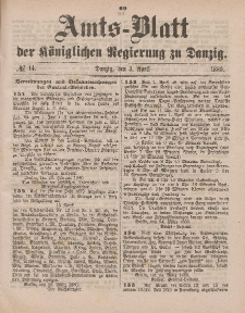 Amts-Blatt der Königlichen Regierung zu Danzig, 3. April 1880, Nr. 14
