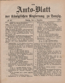 Amts-Blatt der Königlichen Regierung zu Danzig, 4. Dezember 1886, Nr. 49