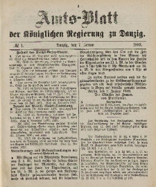 Amts-Blatt der Königlichen Regierung zu Danzig, 7. Januar 1888, Nr. 1
