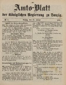 Amts-Blatt der Königlichen Regierung zu Danzig, 28. Januar 1888, Nr. 4