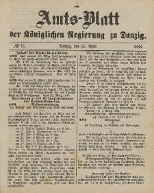 Amts-Blatt der Königlichen Regierung zu Danzig, 14. April 1888, Nr. 15
