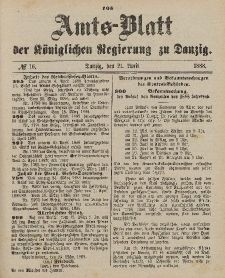 Amts-Blatt der Königlichen Regierung zu Danzig, 21. April 1888, Nr. 16