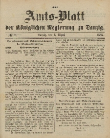 Amts-Blatt der Königlichen Regierung zu Danzig, 4. August 1888, Nr. 31