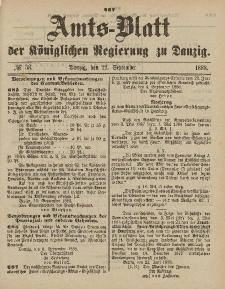 Amts-Blatt der Königlichen Regierung zu Danzig, 22. September 1888, Nr. 38
