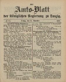 Amts-Blatt der Königlichen Regierung zu Danzig, 10. November 1888, Nr. 45