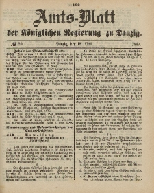 Amts-Blatt der Königlichen Regierung zu Danzig, 18. Mai 1889, Nr. 20