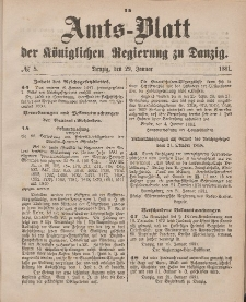Amts-Blatt der Königlichen Regierung zu Danzig, 29. Januar 1881, Nr. 5