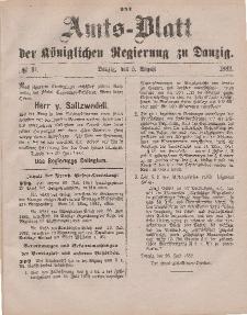 Amts-Blatt der Königlichen Regierung zu Danzig, 5. August 1882, Nr. 31