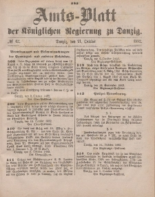 Amts-Blatt der Königlichen Regierung zu Danzig, 21. Oktober 1882, Nr. 42