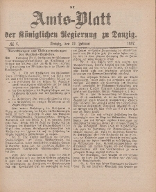 Amts-Blatt der Königlichen Regierung zu Danzig, 12. Februar 1887, Nr. 6