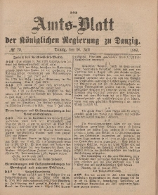 Amts-Blatt der Königlichen Regierung zu Danzig, 16. Juli 1887, Nr. 28