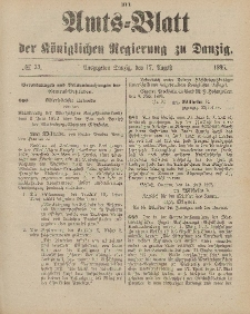 Amts-Blatt der Königlichen Regierung zu Danzig, 17. August 1895, Nr. 33