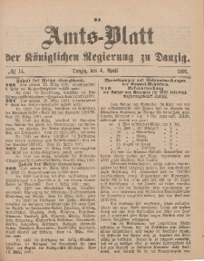Amts-Blatt der Königlichen Regierung zu Danzig, 4. April 1891, Nr. 14