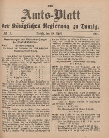 Amts-Blatt der Königlichen Regierung zu Danzig, 25. April 1891, Nr. 17