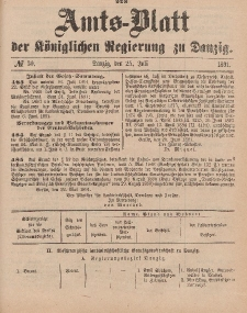 Amts-Blatt der Königlichen Regierung zu Danzig, 25. Juli 1891, Nr. 30