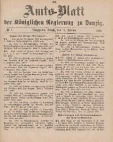 Amts-Blatt der Königlichen Regierung zu Danzig, 13. Februar 1892, Nr. 7
