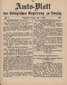 Amts-Blatt der Königlichen Regierung zu Danzig, 2. April 1892, Nr. 14
