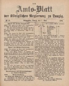 Amts-Blatt der Königlichen Regierung zu Danzig, 7. Mai 1892, Nr. 19