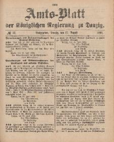 Amts-Blatt der Königlichen Regierung zu Danzig, 13. August 1892, Nr. 33