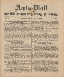 Amts-Blatt der Königlichen Regierung zu Danzig, 6. Januar 1894, Nr. 1