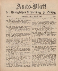 Amts-Blatt der Königlichen Regierung zu Danzig, 21. April 1894, Nr. 16