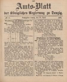 Amts-Blatt der Königlichen Regierung zu Danzig, 28. April 1894, Nr. 17