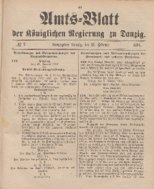 Amts-Blatt der Königlichen Regierung zu Danzig, 15. Februar 1896, Nr. 7