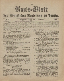 Amts-Blatt der Königlichen Regierung zu Danzig, 11. November 1899, Nr. 45