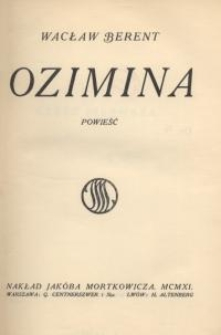 Ozimina : powieść