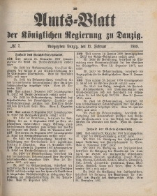 Amts-Blatt der Königlichen Regierung zu Danzig, 12. Februar 1898, Nr. 7