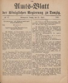 Amts-Blatt der Königlichen Regierung zu Danzig, 23. April 1898, Nr. 17