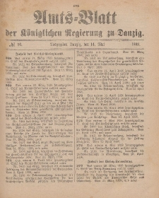 Amts-Blatt der Königlichen Regierung zu Danzig, 14. Mai 1898, Nr. 20